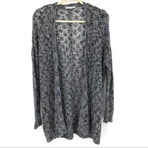 AEO open crochet knit long grey cardigan oversized